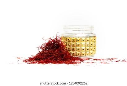 Saffron spice tea crop on white background top view