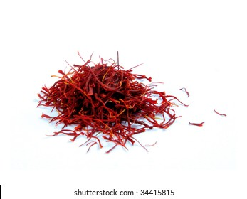 Saffron stands isolated on white