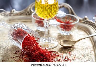 Saffron threads in an old tray