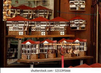 SAFRANBOLU, KARABUK, TURKEY - 30 June 2013. Souvenir shops in Safranbolu sell models of traditional Safranbolu houses, magnets and key rings.