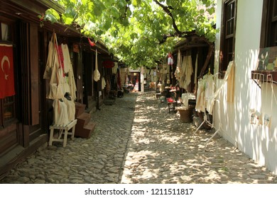 SAFRANBOLU, KARABUK, TURKEY - 30 June 2013. A view from the Arasta (bazaar) in Safranbolu. There are many souvenir shops and also cafes to have beverages under the shadow of vine.