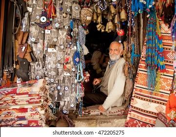 SAFRANBOLU, TURKEY - September 23, 2011: Artisan works in his street workshop. Handicraft shops are very popular among tourists in Safranbolu