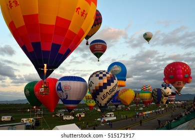 Saga city, Saga, JAPAN, around 6:45 am on November 2 2016: 22nd FAI, World Hot Air Balloon Championship, Festa Flight. This is when the hot air balloons take off in Kase Riverside, Saga city.