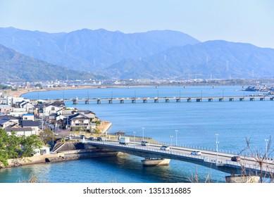 Saga, Japan - MARCH 17, 2019: Bridges of Karatsu City in Saga Prefecture