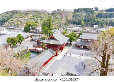 Saga, Japan - MARCH 17, 2019: Aerial View of Entrance Gate of Yutoku Inari Shrine
