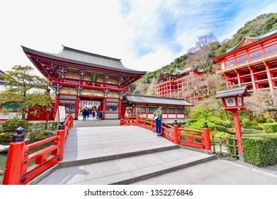 Saga, Japan - MARCH 17, 2019: Scenery of Yutoku Inari Shrine in Kashima City