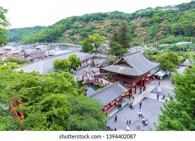 Saga, Japan - May 1, 2019 -  Tourist at Yutoku Inari Shrine  is the third largest of Japanese architecture temple dedicated to Inari in Kashima city, Saga, Japan.