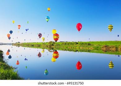 SAGA, JAPAN - NOV 03: SAGA International Balloon Fiesta on Nov 03, 2016 in Saga, Japan. Hot air balloons starting their flight.