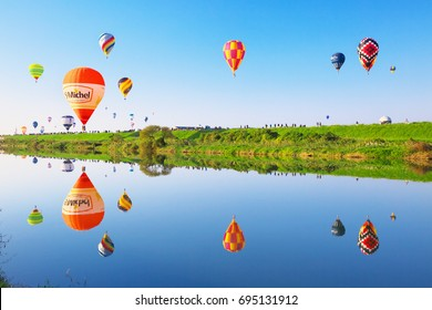 SAGA, JAPAN - NOV 03: SAGA International Balloon Fiesta on Nov 03, 2016 in Saga, Japan. Hot air balloons starting their flight.