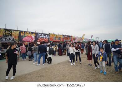 Saga, Japan - Nov. 3, 2019: Unidentified local Japanese are seen buying food at local stalls during Saga International Balloon Fiesta. Over 300,000 of public attendants coming to this balloon fiesta.