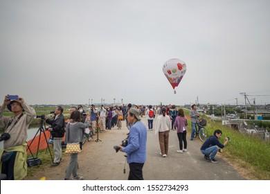 Saga, Japan - Nov. 3, 2019: Unidentified local Japanese are seen waiting during Saga International Balloon Fiesta. Over 300,000 of public attendants coming to this balloon fiesta.