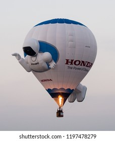Saga, Japan - November 4, 2016: Hot air balloon in shape of robot flying in the sky during Saga International Balloon Fiesta