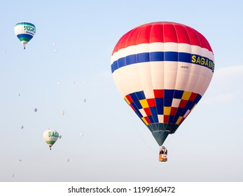 Saga, Japan - November 4, 2016: Colorful hot air balloons flying in the sky during Saga International Balloon Fiesta