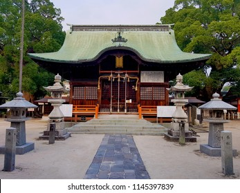 Saga, JP - JULY 17, 2018: Architecture of Yoka Shinto Shrine, The famous sightseeing in Saga Provinces that built near the Saga Castle ruins.