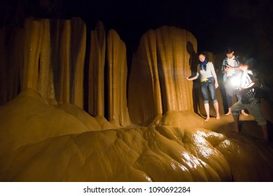 Sagada, Mountain Province/Philippines-January 10, 2015: Tourists enjoy spelunking inside the famous Sumaguing Cave.