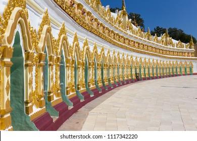 SAGAIN, MYANMAR - NOVEMBER 23, 2014: U Min Thonze Pagoda, Sagaing, in Myanmar