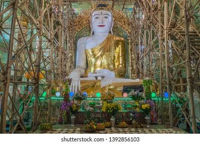 SAGAING, MYANMAR - DECEMBER 5, 2016: Giant Buddha in Soon U Pon Nya Shin Paya temple in Sagaing, Myanmar