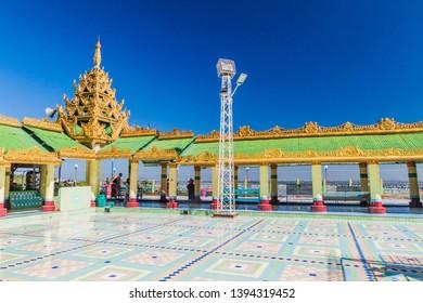 SAGAING, MYANMAR - DECEMBER 5, 2016: Walkway of Soon Oo Pon Nya Shin Pagoda on Sagaing Hill near Mandalay, Myanmar
