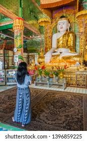 SAGAING, MYANMAR - DECEMBER 5, 2016: Buddha statue at Soon Oo Pon Nya Shin Pagoda on Sagaing Hill near Mandalay, Myanmar