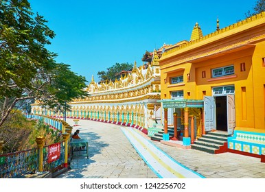 SAGAING, MYANMAR - FEBRUARY 21, 2018: The site of U Min Thonze Temple located on the slope of the main Sagaing Hill and includes scenic buildings and statues, on February 21 in Sagaing