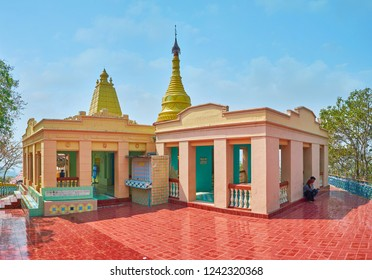 SAGAING, MYANMAR - FEBRUARY 21, 2018: The pagoda of U Min Thonze Caves is decorated with tiled patterns, it's surrounded by panoramic terrace, opening the view on Sagaing, on February 21 in Sagaing