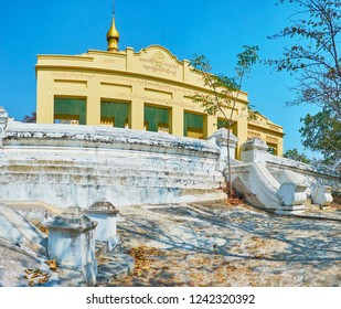 SAGAING, MYANMAR - FEBRUARY 21, 2018: The old shrine of U Min Thonze Temple, located on the top of Sagaing Hill, on February 21 in Sagaing.