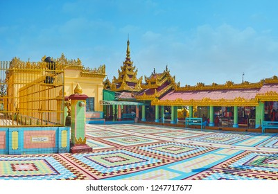 SAGAING, MYANMAR - FEBRUARY 21, 2018: Visit the oldest temple on Sagaing Hill - Soon Oo Ponya Shin Paya (Summit Pagoda) is famous for its beauty, on February 21 in Sagaing
