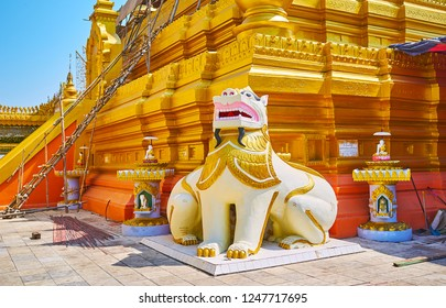 SAGAING, MYANMAR - FEBRUARY 21, 2018: The statue of double-bodied Chinthe (leogryph) guards the golden stupa of Soon Oo Ponya Shin Paya (Summit Pagoda), on February 21 in Sagaing
