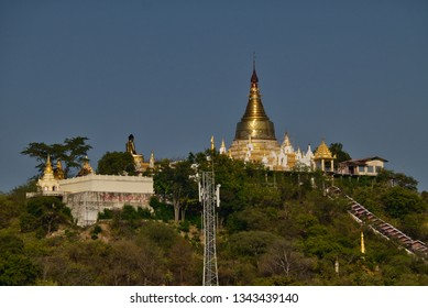 Sagaing, Myanmar - January 15th, 2019: The beautiful Shin Pin Nan Kain Temple is located at a small hill just below the famous Sagaing Hill in Sagaing, Myanmar