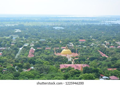 SAGAING, MYANMAR - OCT 6TH, 2018: Panoramic view of the temples of Sagaing, seen from the Sagaing hills, on Oct 6th, 2018