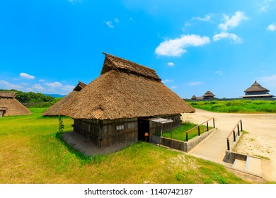 Saga,Japan - July 20,2018 - Yoshinogari Historical Park is an outstanding archaeological site in Saga Prefecture,Japan. The sprawling park covers a large settlement from the Yayoi Period.