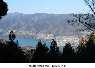 Sagami Lake seen from Mt. Ishirou in Sagamihara city, Kanagawa Prefecture, Japan