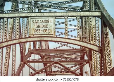 The Sagamore Bridge crossing a canal from Sagamore into Cape Cod, Massachusetts.