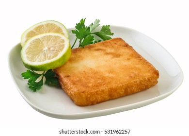 Saganaki is a Greek delicacy of fried cheese , Clipping path