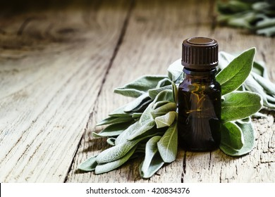 Sage oil in brown bottle on the vintage wooden table, selective focus