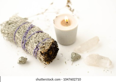 Sage Smudge Stick Crystals and candle