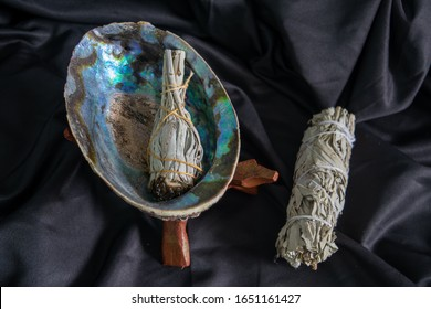 Sage stick, burning, wicca protection ritual, abalone shell