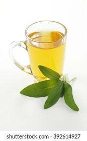 Sage tea in glass