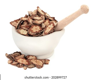 Sagent glory vine chinese herbal medicine in a stone mortar with pestle over white background. Hong teng. Sargentadoxa.