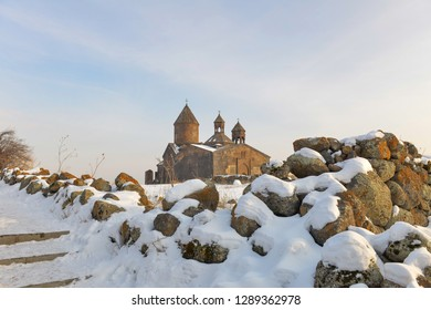 Saghmosavank Monastery near gorge of Kassakh river. Armenia
