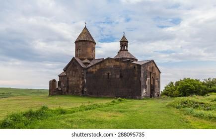 Saghmosavank monastery, Saghmosavan, Armenia - May 2015 - The Saghmosavank is a 13th-century Armenian monastic complex located in the village of Saghmosavan in the Aragatsotn Province of Armenia.