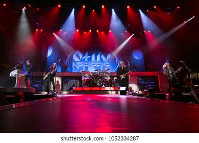 Saginaw, MI / USA - March 20, 2018: Styx performs live at the Dow Event Center.