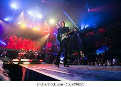 Saginaw, MI / USA - March 20, 2018: James Young with Styx performs live at the Dow Event Center.