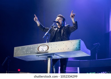 Saginaw, MI / USA - March 20, 2018: Lawrence Gowan with Styx performs live at the Dow Event Center.