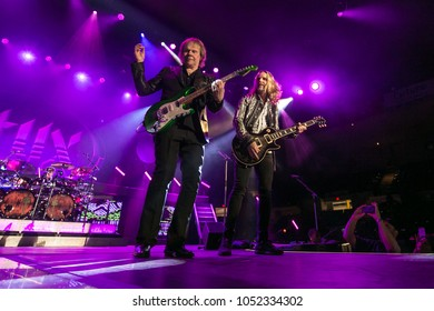 Saginaw, MI / USA - March 20, 2018: James Young and Tommy Shaw with Styx perform live at the Dow Event Center.