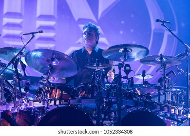 Saginaw, MI / USA - March 20, 2018: Todd Sucherman with Styx performs live at the Dow Event Center.