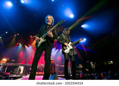 Saginaw, MI / USA - March 20, 2018: James Young and Ricky Phillips with Styx performs live at the Dow Event Center.