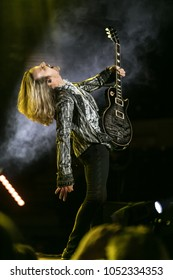 Saginaw, MI / USA - March 20, 2018: Tommy Shaw with Styx performs live at the Dow Event Center.