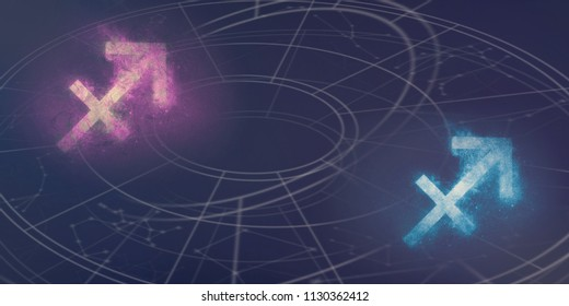 Sagittarius and Sagittarius horoscope signs compatibility. Night sky Abstract background.