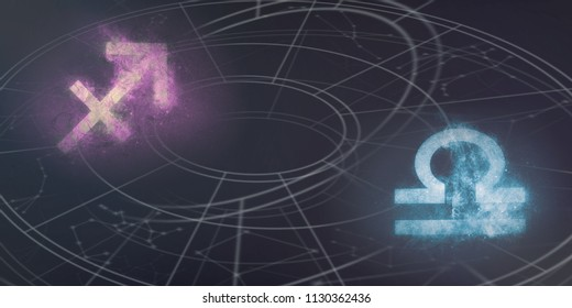 Sagittarius and Libra horoscope signs compatibility. Night sky Abstract background.